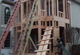 framing out two story addition