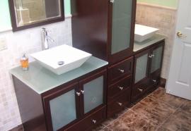 twin bathroom sink and storage